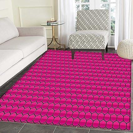 Amazon.com: Hot Pink Mats for Bedroom Honeycomb Pattern ...