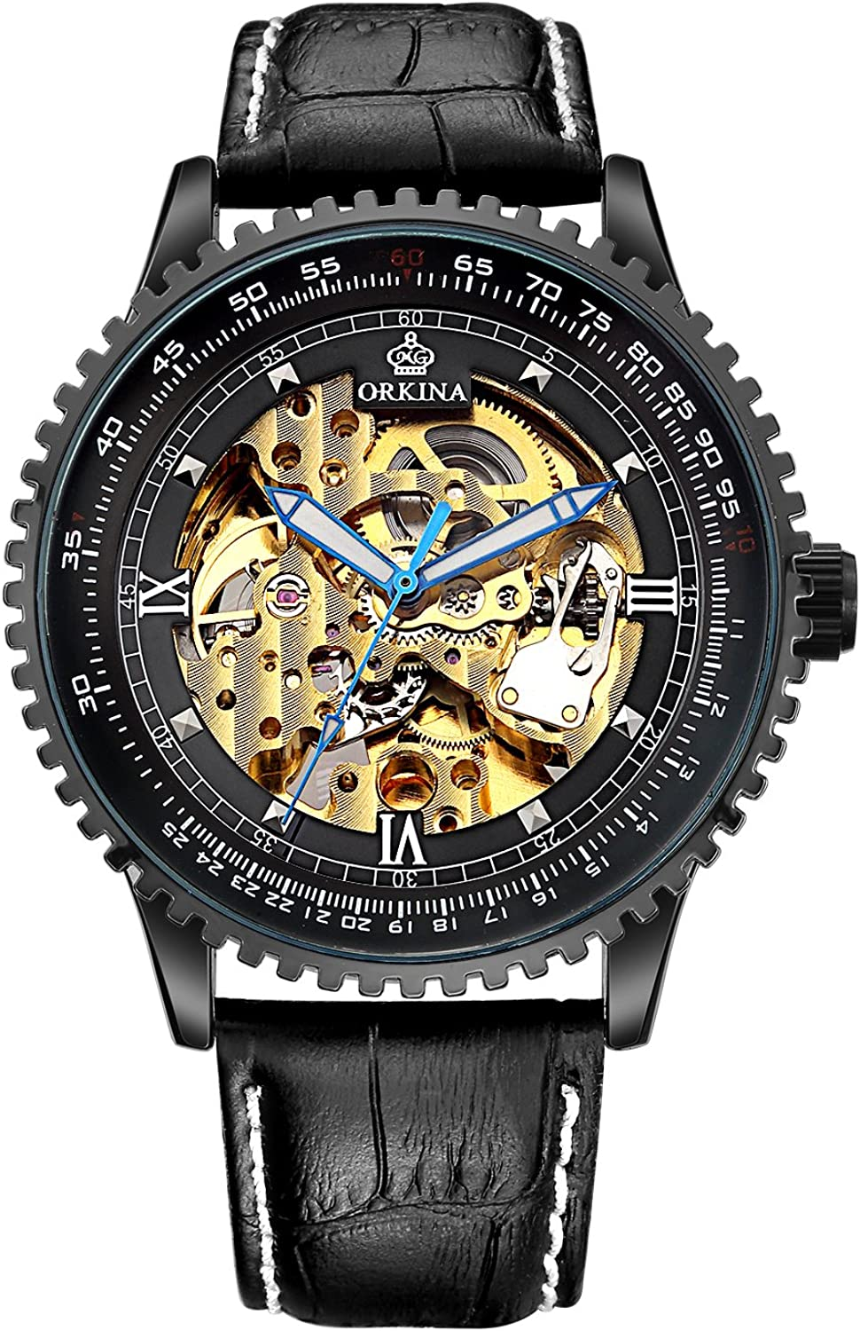 Carrie Hughes Men Black Steampunk Automatic Watch Luminous Hands Stainless Steel Skeleton Mechanical Leather Watch CHG008