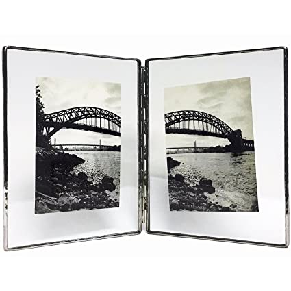 Amazon.com - Clear Glass Float Frame 7x9/5x7 Hinged Double Silver by ...
