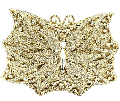 Mujer Bolso Noche Bolsas Fiesta Boda Carteras Brillo Mano Diamantes Cadena Embrague Mariposa Dorado
