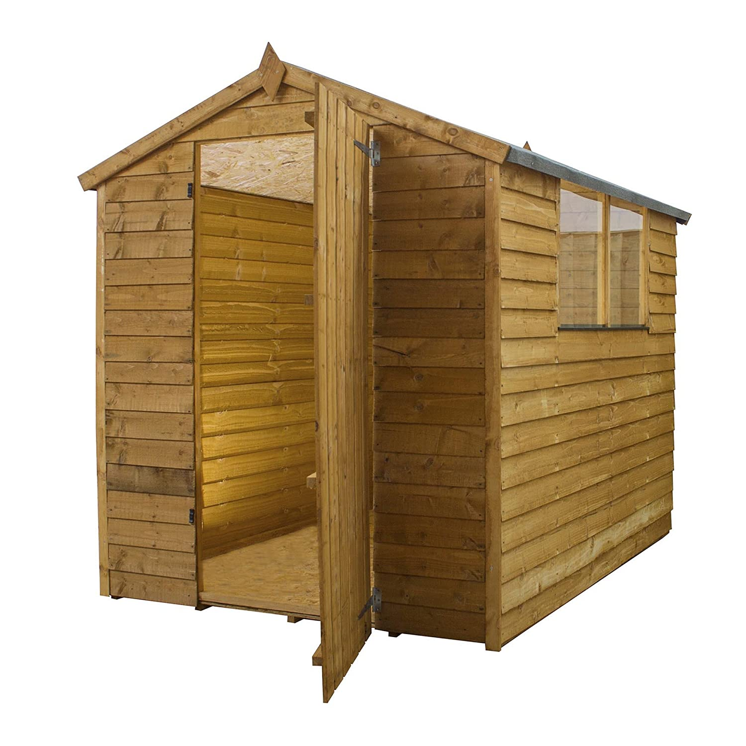 7x5 overlap apex wooden garden shed styrene windows single door felt by waltons amazoncouk garden outdoors