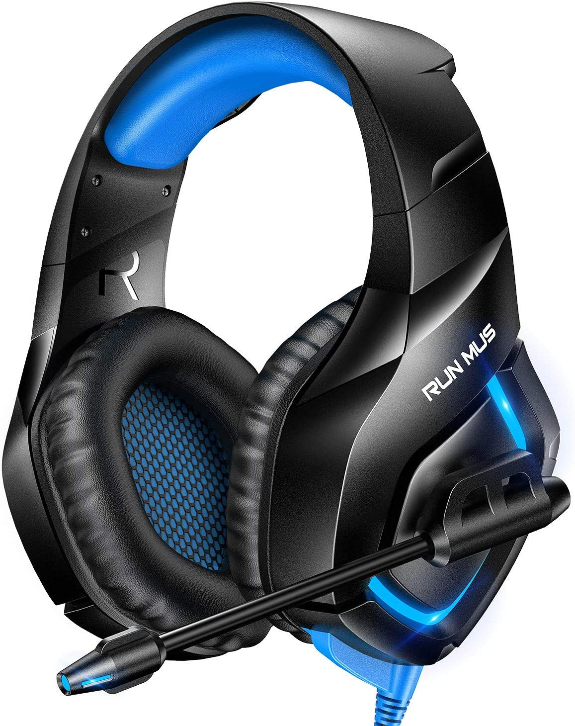 RUNMUS Gaming Headset PS4 Headset with 7.1 Surround Sound, PC Headset Compatible w/ PS4, Xbox One(Adapter Not Included), PC, Laptop NS Sega Saturn, Blue