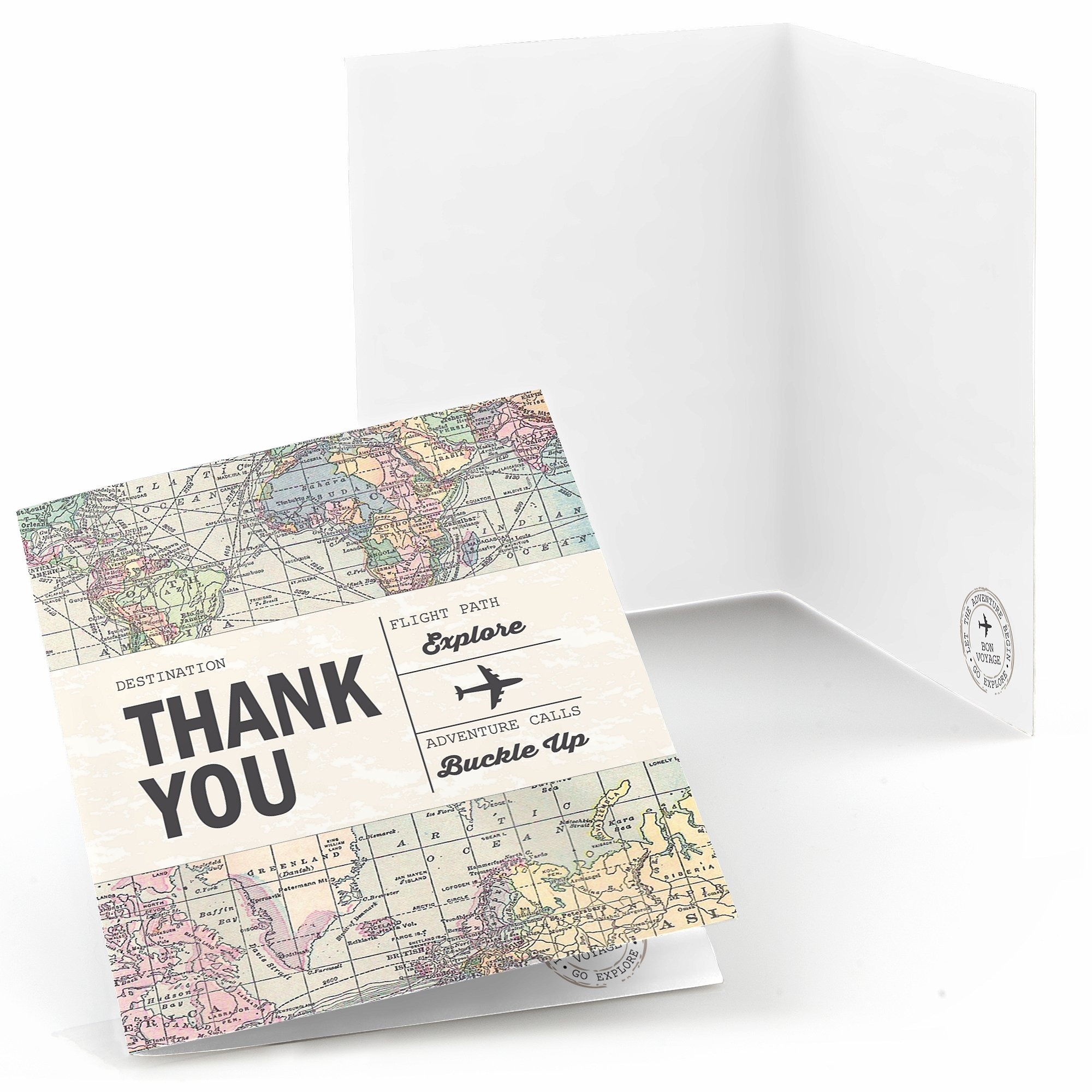 World Awaits - Travel Themed Thank You Cards - Set of 24 by Big Dot of Happiness (Image #1)