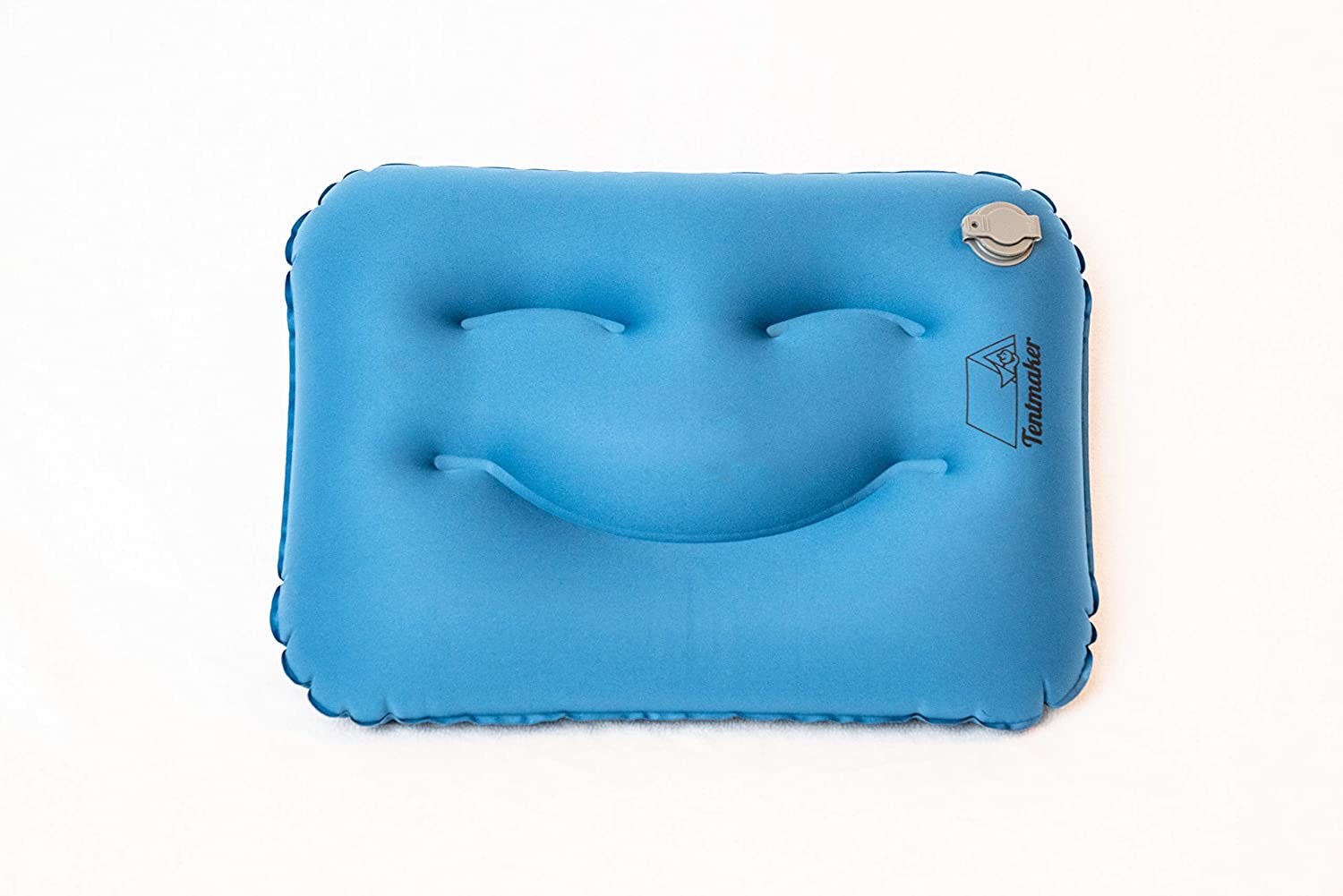 Backpacking or Travel Tentmaker The Happy Camper Blue Smile Pillow Ultra Light Ultra Soft Quick-Inflating Cushion for Camping
