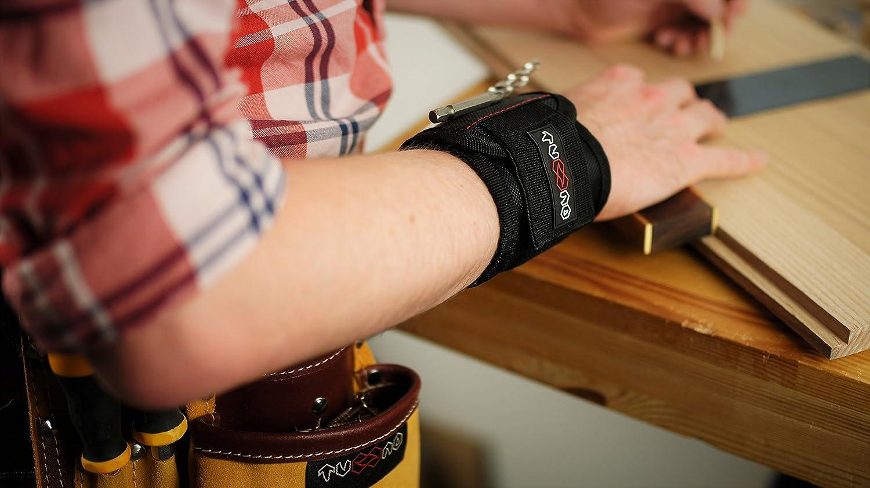 Nadeln etc M/änner Handwerker Schrauben Frauen Geschenkidee f/ür Bastler Magnetisches Armband Heimwerker Magnetische Armband mit 5 starken Magneten f/ür Werkzeug N/ägel Magnetarmband