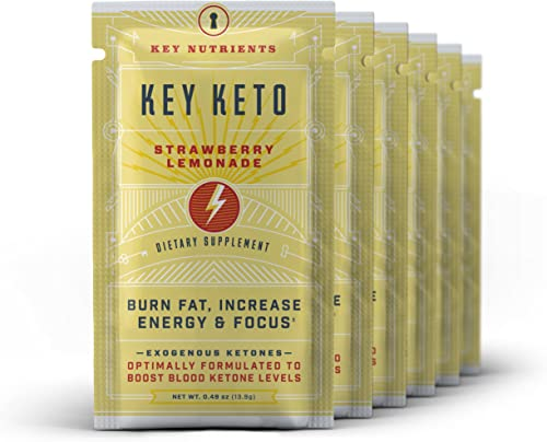 Exogenous Ketone Supplement, Key Keto Patented BHB Salts Beta-Hydroxybutyrate – Formulated for Ketosis, to Burn Fat, Increase Energy and Focus, Supports a Keto Diet. 6 Keto Packets Straw Lem
