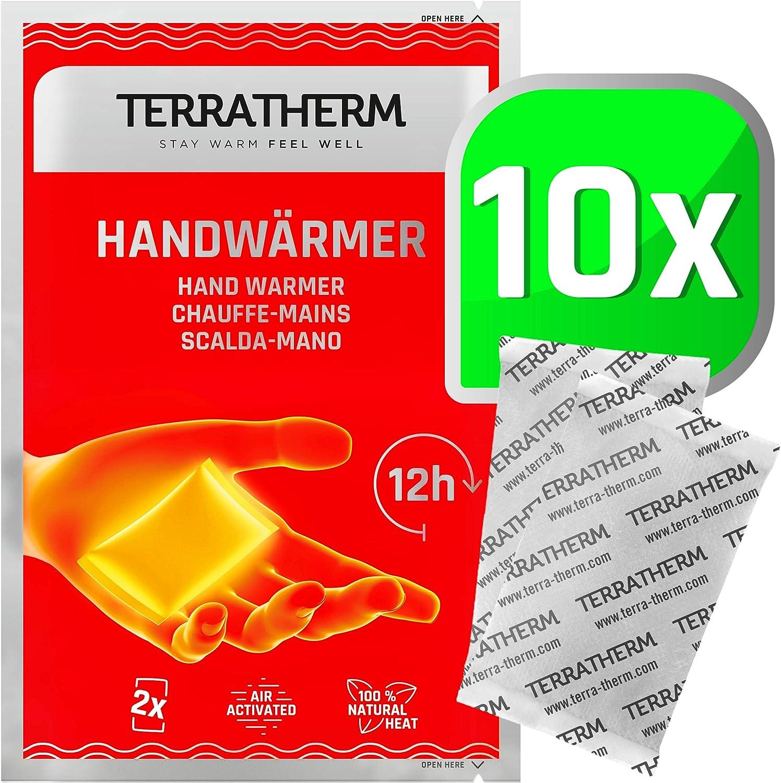 TerraTherm Calentadores de Manos, calienta Bolsillos para 12 Horas de Manos Calientes, Almohadillas térmicas activadas por Aire, 100% Calor Natural, calienta Manos