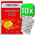 TerraTherm handvärmare, fickvärmare för varma händer i upp till 12 timmar, värmedynor hand med luftaktivering, 100% naturlig värme, fingervärmare