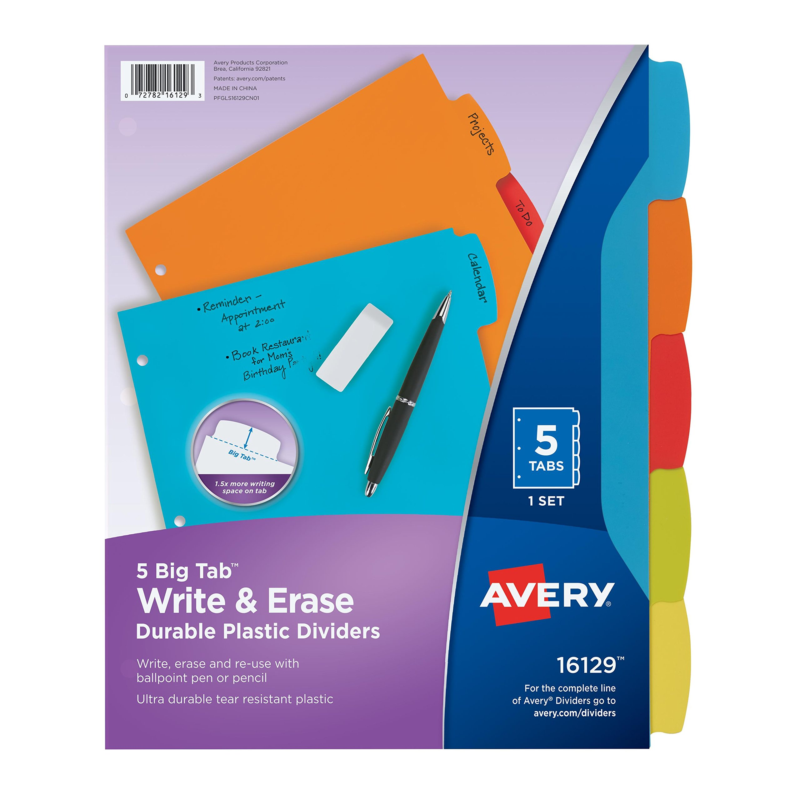 Avery Big Tab Write & Erase Durable Plastic Dividers, 5 MulticolorTabs, 1 Set (16129)