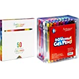 Artlicious - 50 Premium Distinct Colored Pencils & 60 Deluxe Unique Gel Pens Combo Set