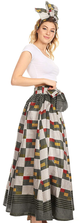 Sakkas Sora Women\'s Wide Leg Loose African Ankara Print Pants Casual Elastic Waist