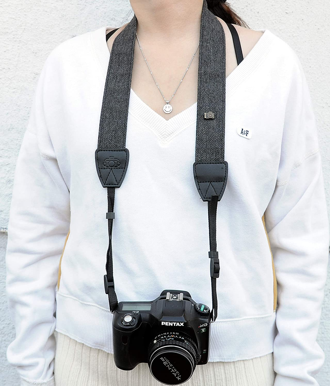 Compatible with Canon Fujifilm Nikon Olympus Panasonic Pentax Sony Cameras Classic Design Camera Shoulder Belt Strap Fotasy Black Vintage Weave Camera Neck Strap