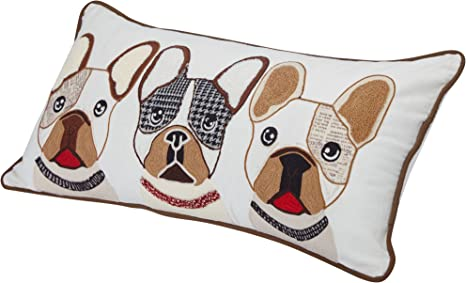 Blueberry Pet Home 2 Patterns 100 Cotton Indoor Outdoor Rectangular Decorative Cushion Throw Pillow With Insert And Case For Couch 23 5 X 12 The French Bulldog Embroidered Designer Toss Pillow Pet Supplies