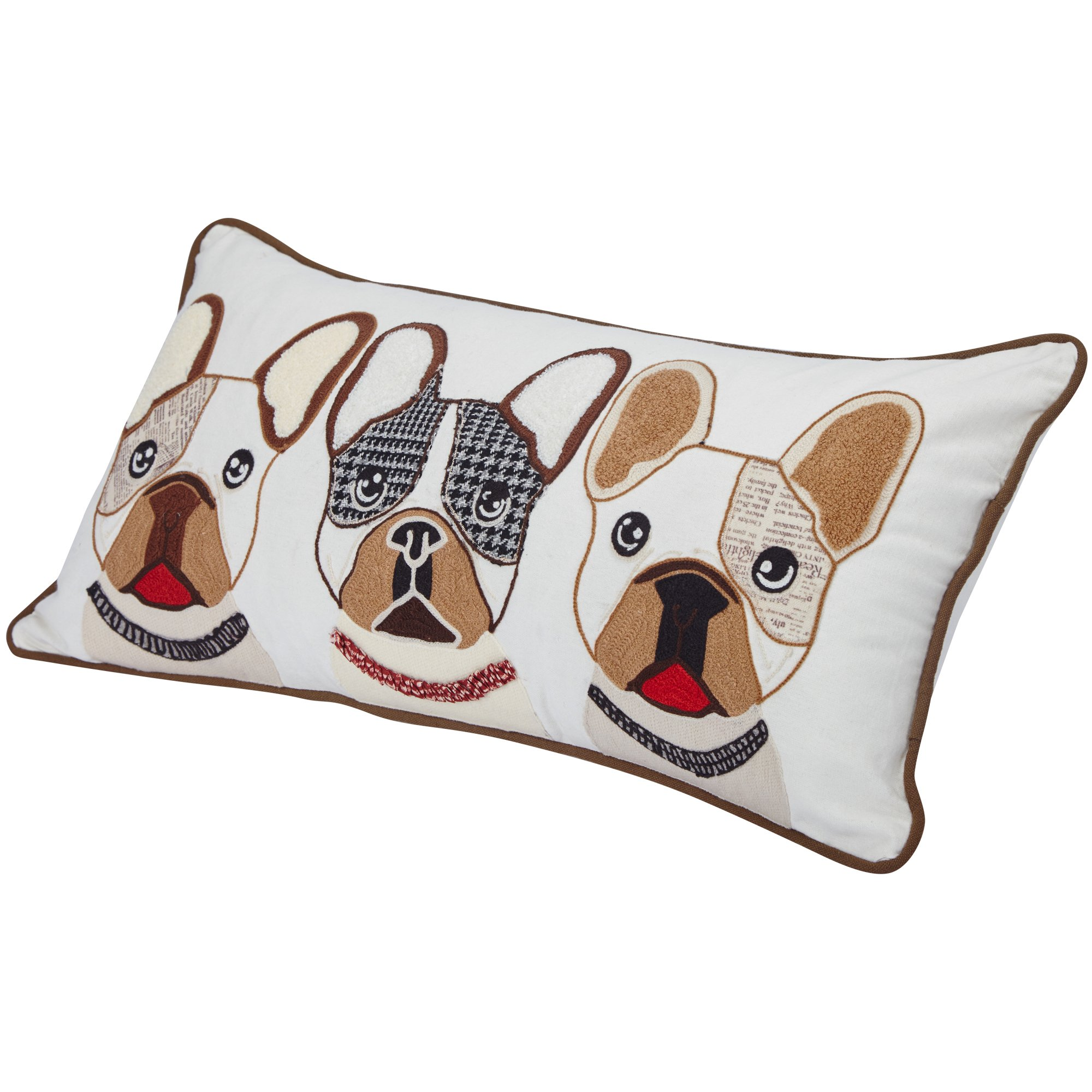 """Blueberry Pet Home 2 Patterns 100% Cotton Indoor/Outdoor Rectangular Decorative Cushion Throw Pillow with Insert and Case for Couch, 23.5"""" x 12"""", The French Bulldog Embroidered Designer Toss Pillow by Blueberry Pet"""
