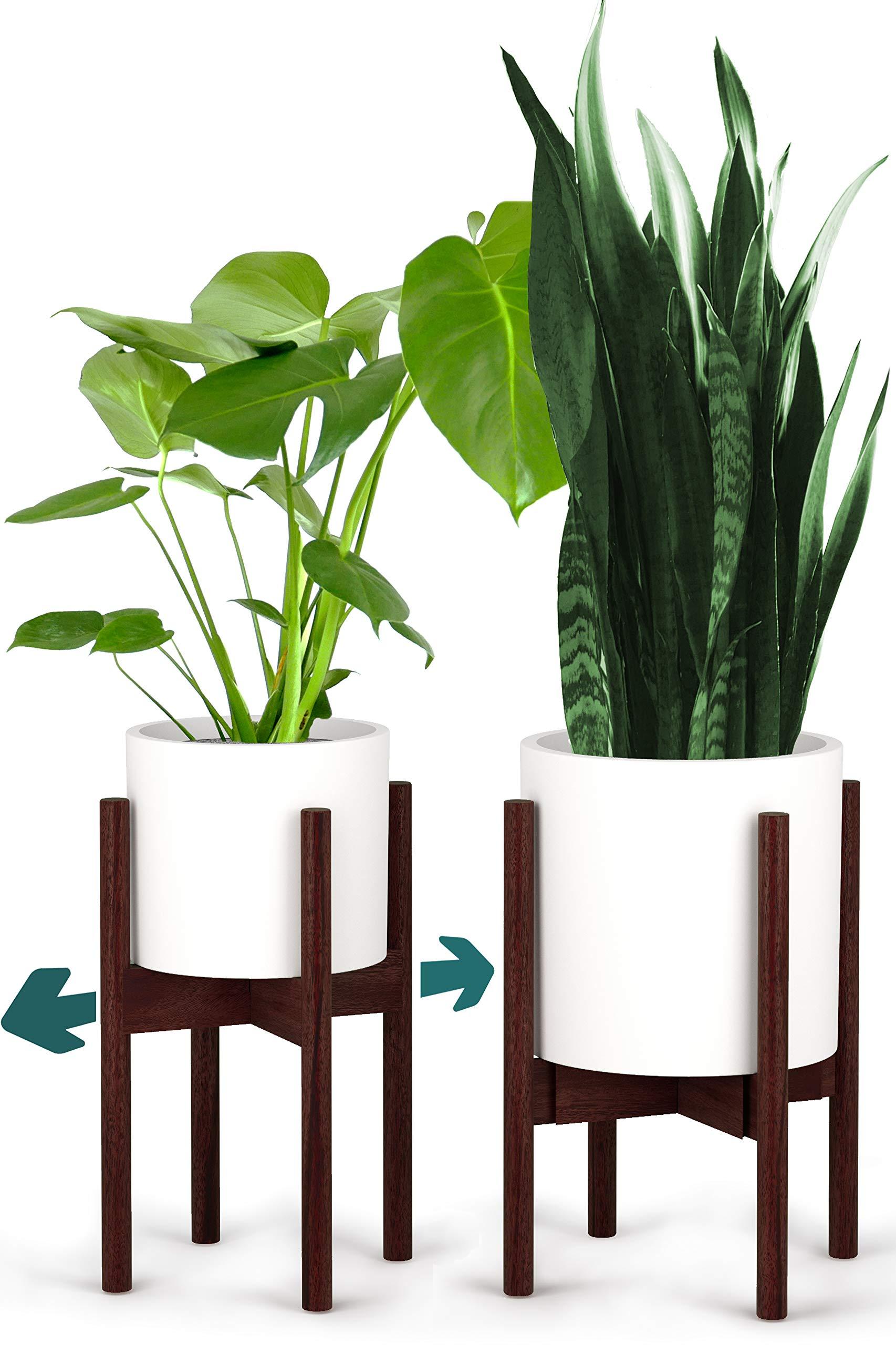 Fox & Fern Indoor Plant Stand - Adjustable Width 8'' up to 12'' - Dark Walnut - EXCLUDING Plant Pot