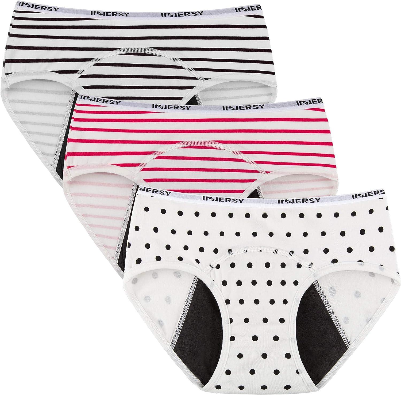 Innersy Big Girls Panties Menstrual Period Panties Protective Cotton Hipster Panties Underwear 3-Pack