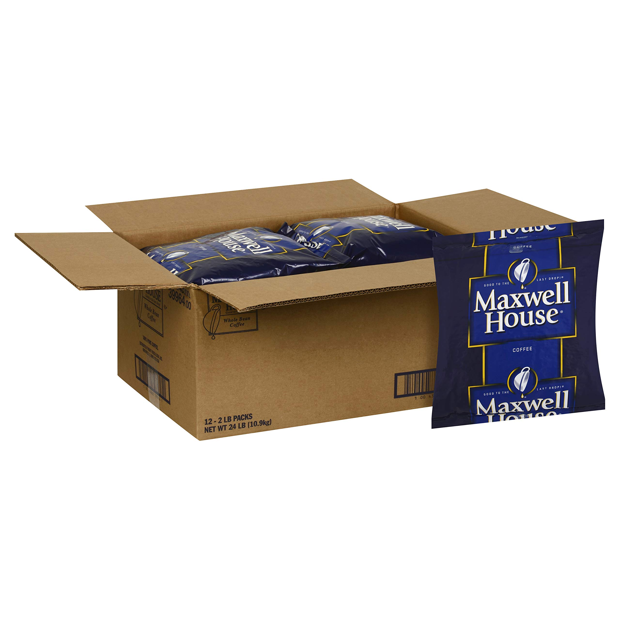 Maxwell House Shy Roast Vending Coffee, Whole Bean, 2 lb. pack, Pack of 12