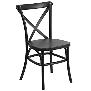 HERCULES Series Black Resin Indoor Outdoor Cross Back Chair With Steel  Inner Leg