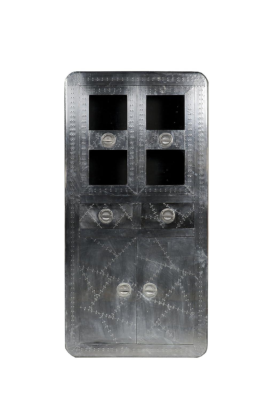 SIT-Möbel 1704-21 Vitrine Airman, 4 Türen, 2 Schubladen, Metallauszug mit Zierschrauben versehen, circa 90 x 40 x 187 cm