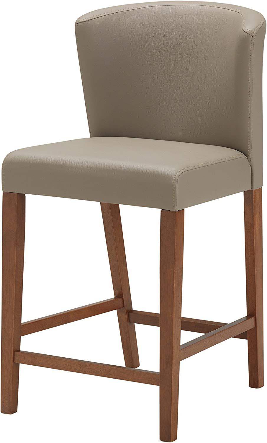 Baxton Studio Olivia Mid-Century Modern Scandinavian Style Dark Walnut Wood with Grey Faux Leather Pub Stool Set of 2