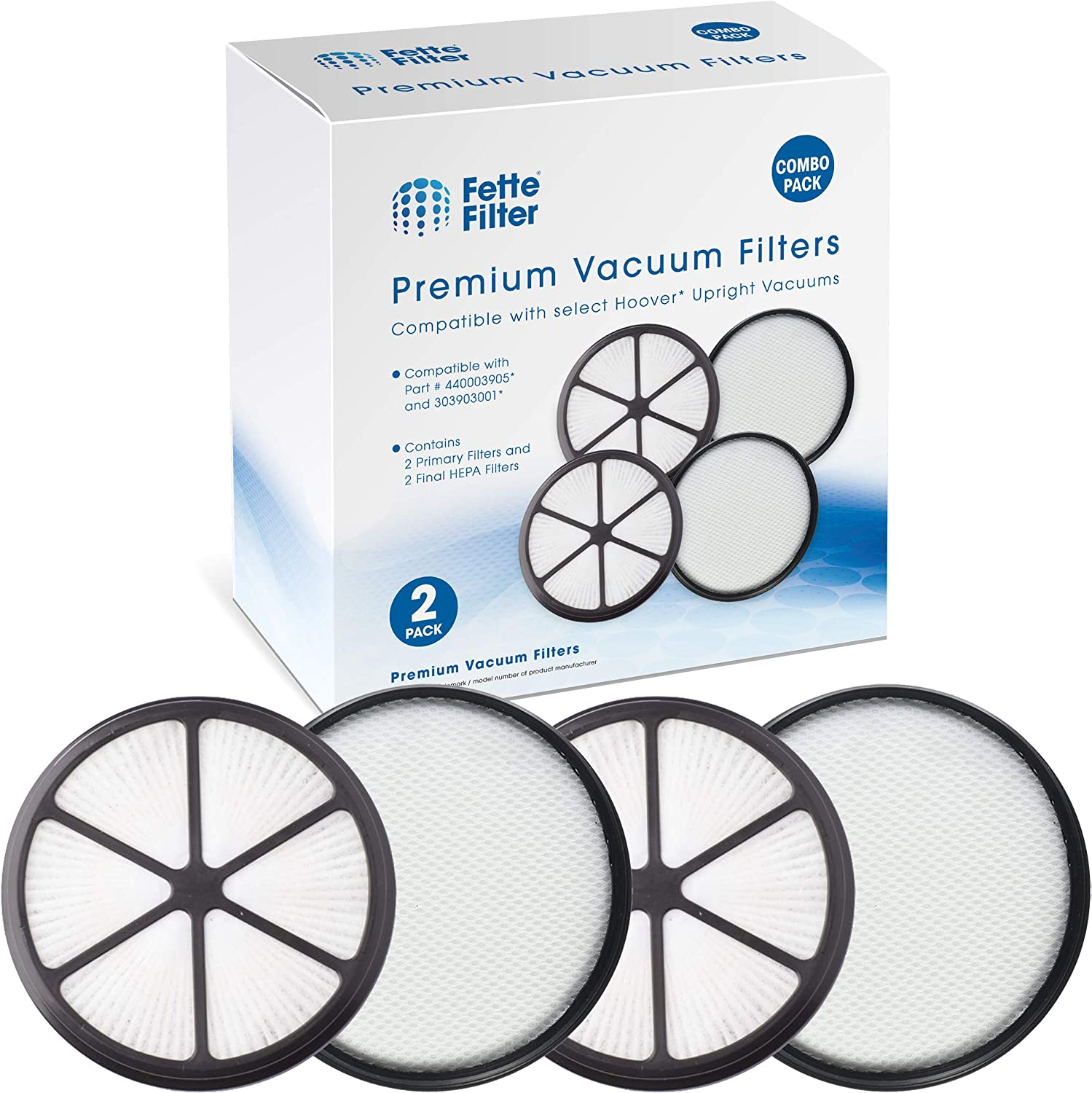 Fette Filter - Vacuum Filter Set Compatible with Hoover UH72400, UH72400, UH72401, UH72402, UH72405, UH72406, UH72409. Compare to Part #440003905 & 303903001 (4 Pieces)