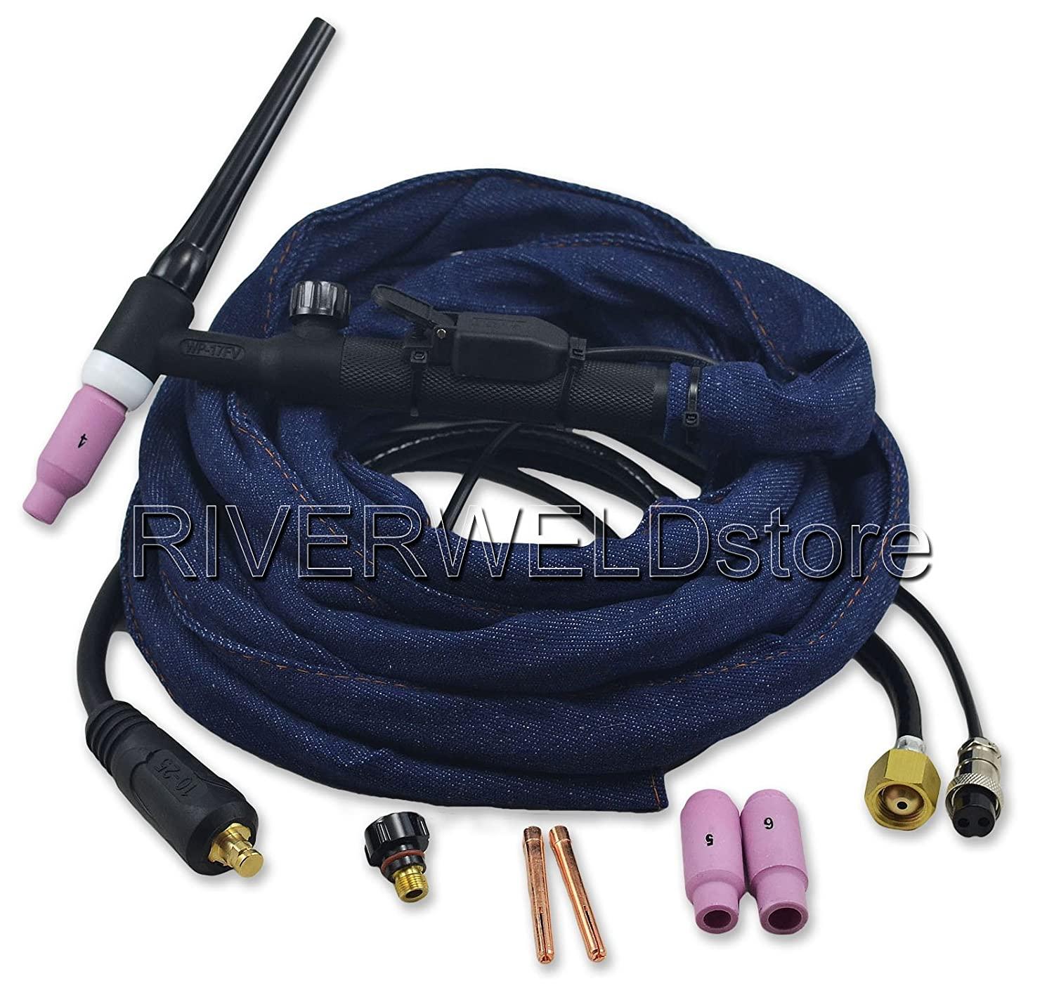 WP-17FV-12 12-Foot 150Amp Tig Welding Torch Complete With Flexible & Valve Head RIVERWELDstore