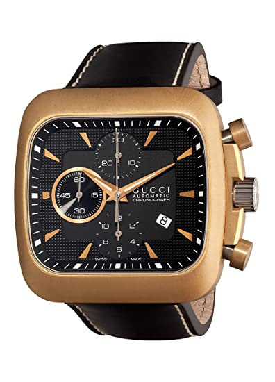 Gucci Coupe reloj dorado con correa de piel negro para hombre (modelo   YA131204) 590563ef27e