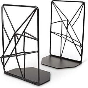 Opal Tree Bookends - Geometric Modern Industrial - Decorative Iron Book Stoppers - Abstract/Home/Office/Rustic Creative Shelf Decor (Black)