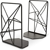 Opal Tree Bookends Geometric Modern Industrial - Decorative Iron Book Stoppers - Abstract/Home/Office/Rustic Creative Shelf Decor (Black)