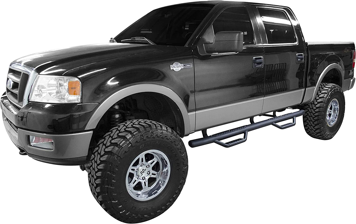 Super Crew Cab Length, Pair Go Rhino D24155T Black Textured Dominator D2 Sidestep for Ford