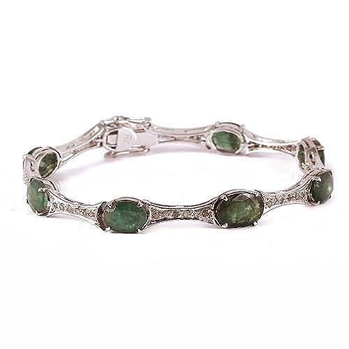 neerupam colección fina de 925 plata de ley Natural verde esmeralda y diamante 7,50