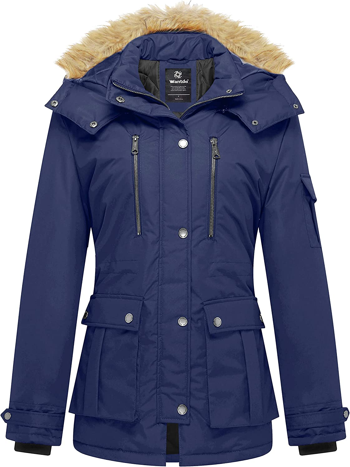 Wantdo Womens Thickened Parka Coat with Removable Fur Hood