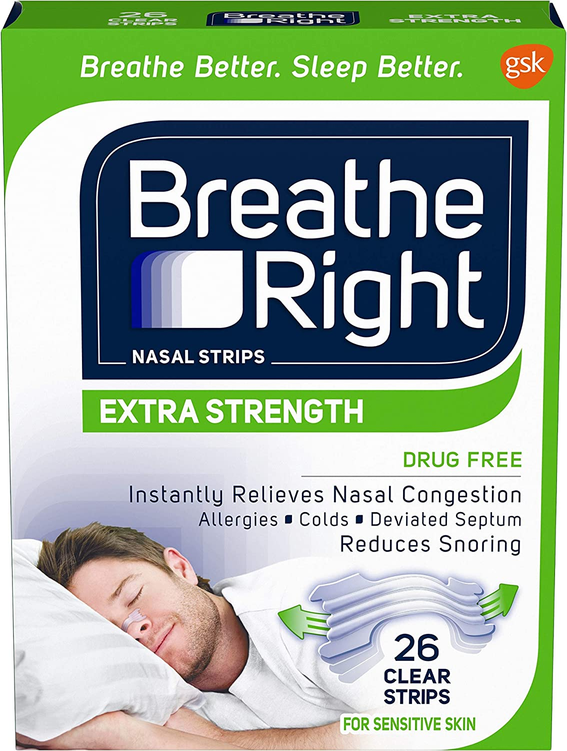 Breathe Right Nasal Strips to Stop Snoring, Drug-Free, Extra Clear, 26 count: Health & Personal Care