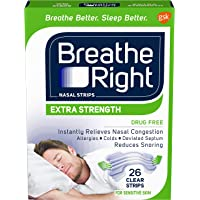 Breathe Right Nasal Strips to Stop Snoring, Drug-Free, Extra Clear, 26 count