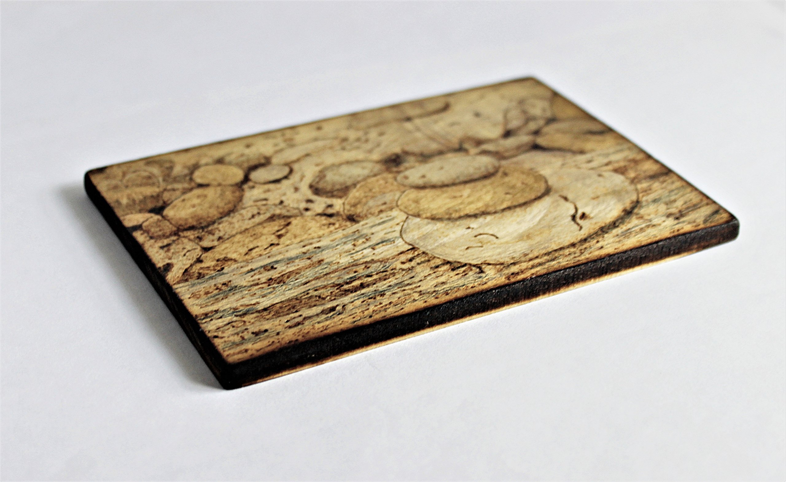 Wood Burned Cairn Stones Pyrography Small Woodburned Nature Rocky Shoreline Picture Desktop Art by Hendywood (Image #3)