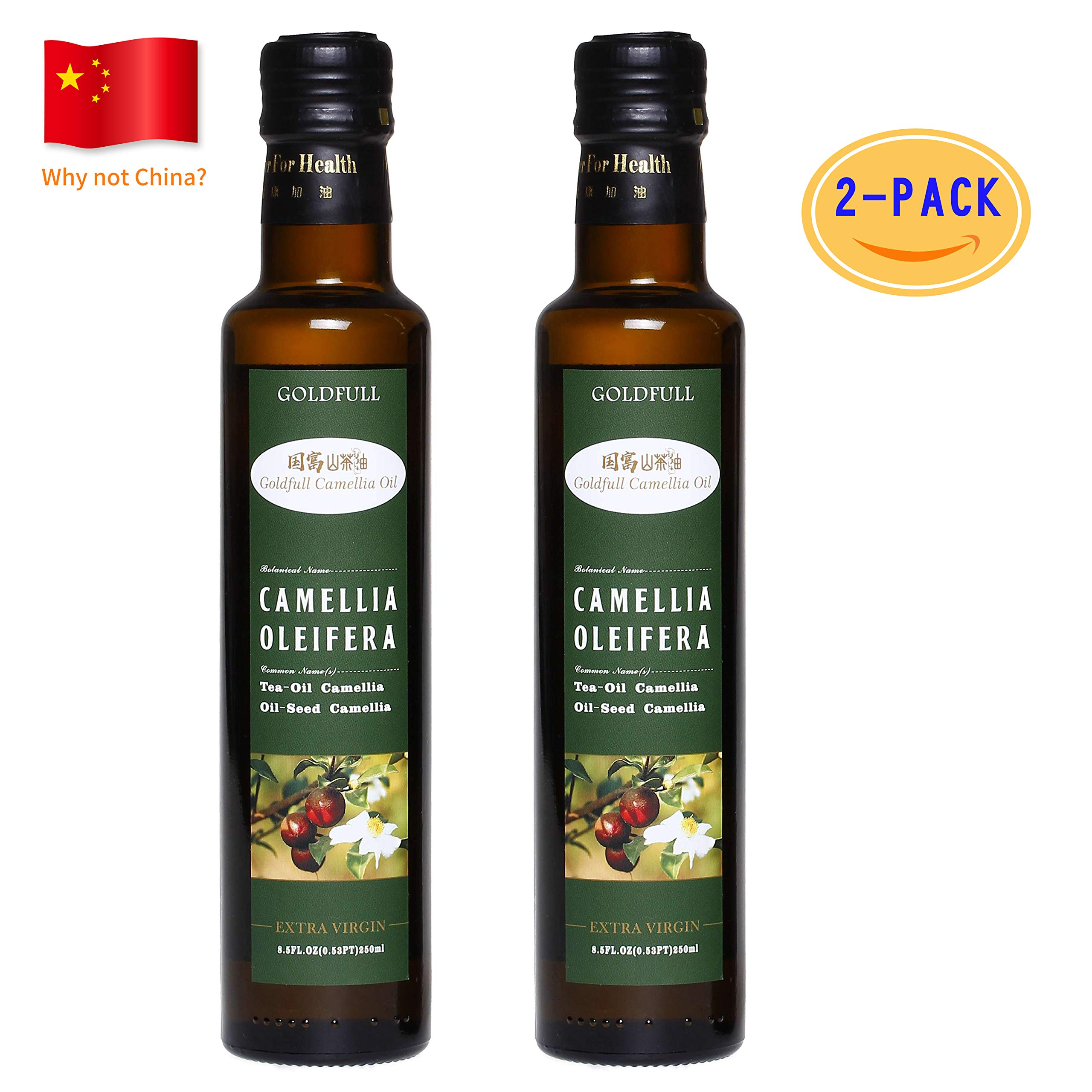 Goldfull Camellia Oil,Tea Seed Oil,Camellia Seed Oil, Cold Pressed Extra Virgin Cooking Oil,Camellia Oleifera Oil, Chinese Olive Oil, Natural Flavor, Current Harvest,250ml 2 Pack by Goldfull Camellia Oil