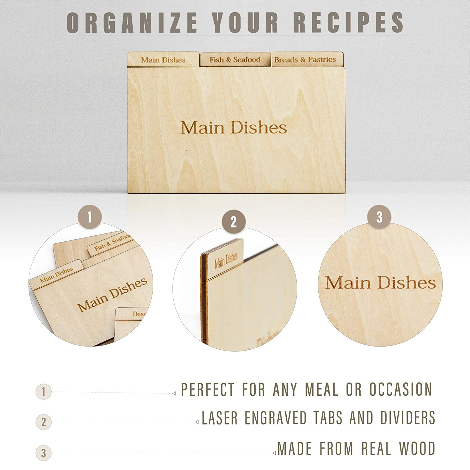 Prosumers Choice Real Wood Recipe Organizer Categorized by Specialty for 3x5 Inch Cards Aleratec
