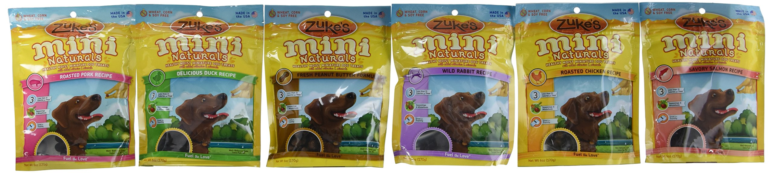 Zuke's Mini Naturals Healthy Moist Dog Treats Variety Pack - 6 Flavors (Roasted Pork, Wild Rabbit, Roasted Chicken, Delicious Duck, Savory Salmon, & Fresh Peanut Butter) - 6 oz Each (6 Total Pouches) (6 flavors)