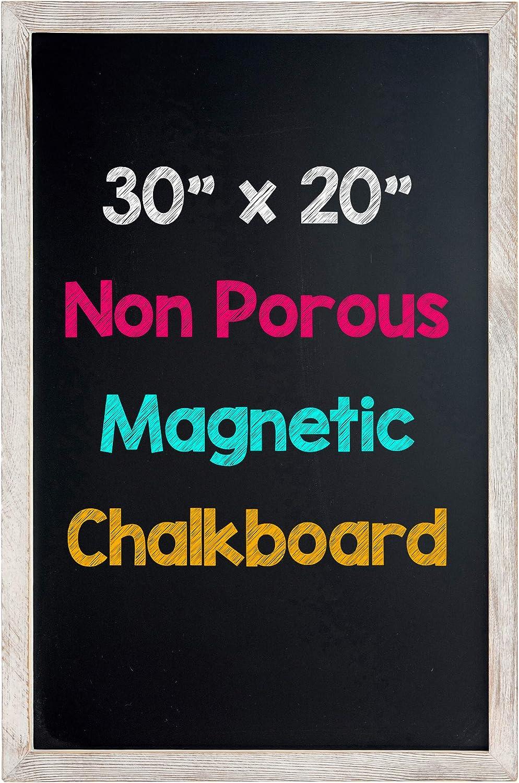 "Hendson Rustic Whitewashed Magnetic Wall Chalkboard - 20"" x 30"" - Framed Farmhouse Decor Decorative Chalk Board - Blackboard for Kitchen, Office, Restaurant Menus, Weddings"
