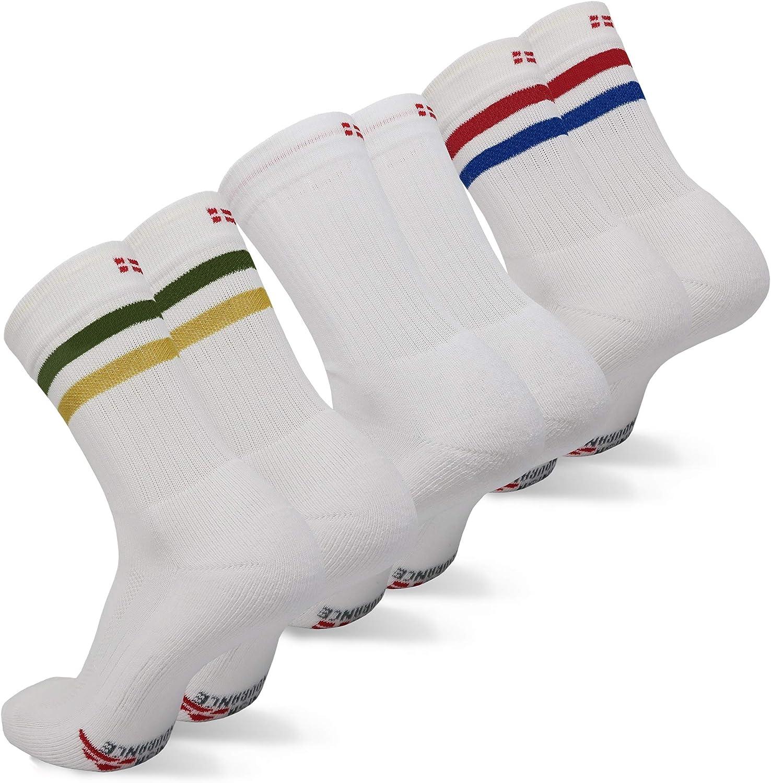 DANISH ENDURANCE Performance Crew Tennis Socks for Men & Women, Sports & Everyday Wear, Retro, 3 Pack