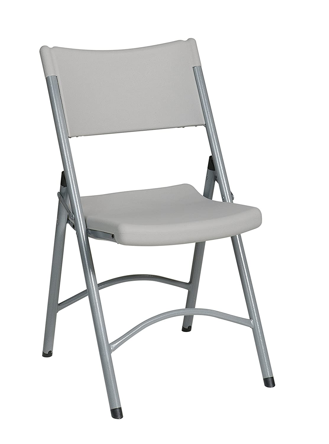 Office Star Resin Multi-Purpose Sqaured Folding Chair with Silver Accents, Set of 4