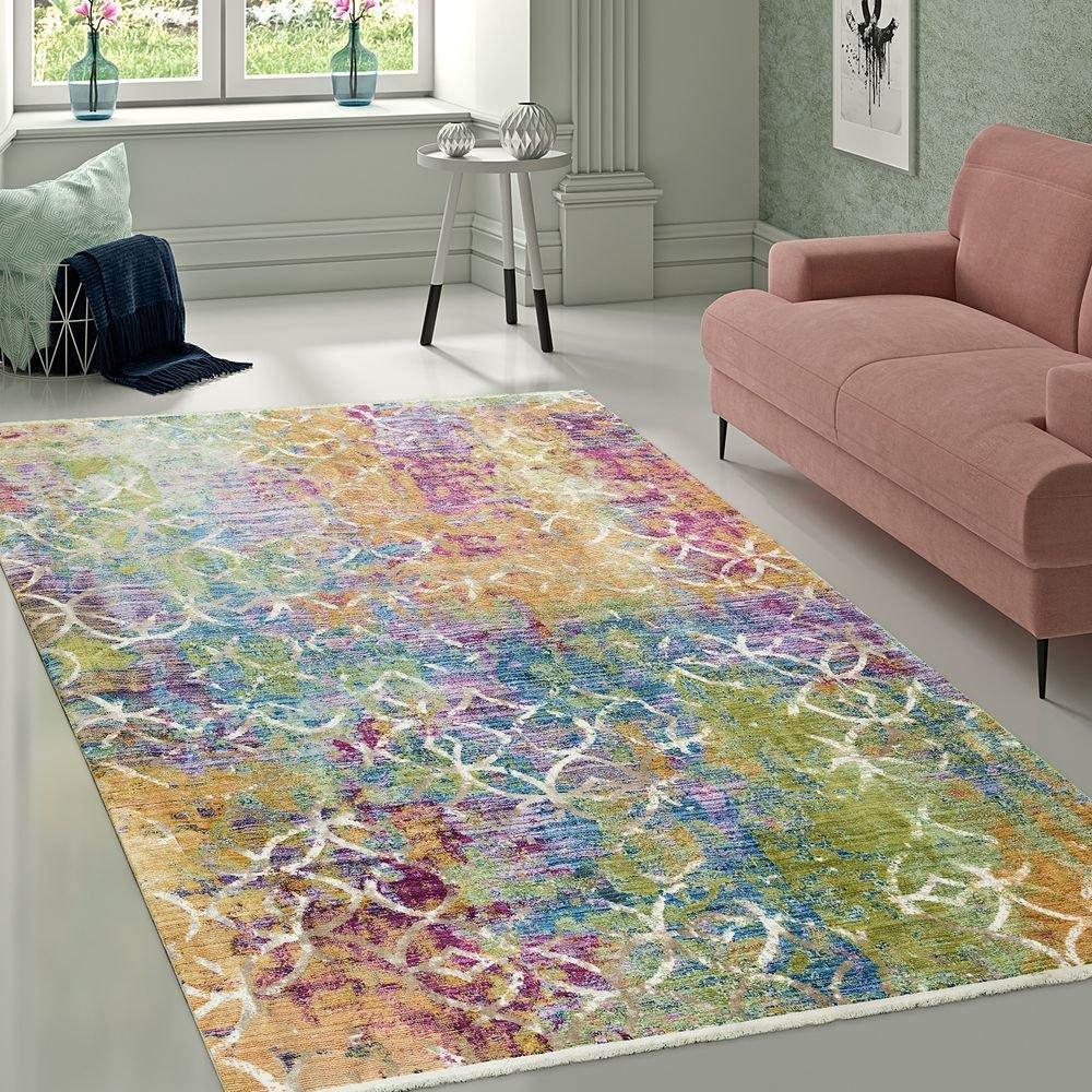 Paco Home Designer Wohnzimmer Teppich Abstraktes Muster Pastellfarben Hochwertig Bunt, Grösse:120x170 cm