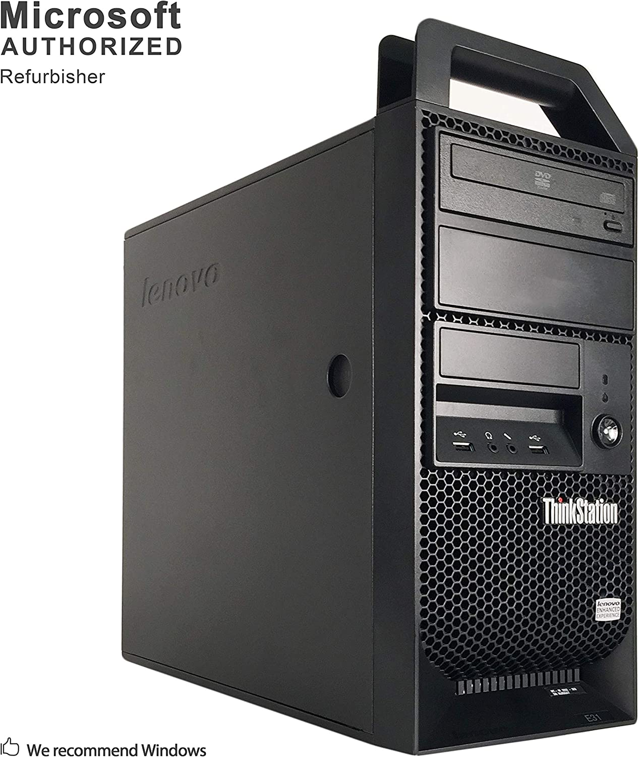 Lenovo ThinkStation E31 Tower PC, Intel Quad Core i5-3470 up to 3.6GHz, 16G DDR3, 240G SSD + 1T, DVD, WiFi, BT 4.0, Windows 10 64 Bit-Multi-Language Supports English/Spanish/French(Renewed)