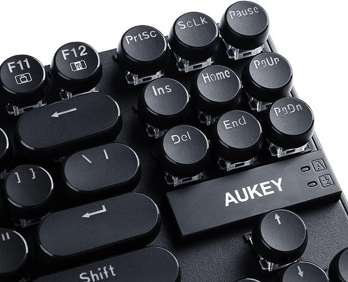 AUKEY Teclado Mecánico 87 Teclas Switches Blue Capacidad Anti-ghosting US-Layout Teclas Teclado Máquina Retro de Escribir - Estilo Impermeable Teclado ...