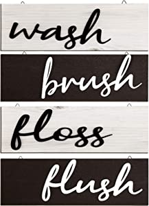 4 Pieces Farmhouse Bathroom Wall Decor Rustic Wooden 3D Wash Brush Floss Flush Sign Retro Hanging Wooden Signs for Restroom Bathroom Wall Decor (Classic Color)