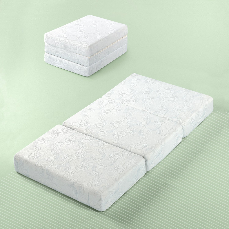 Zinus Gel Memory Foam 5 Inch Tri-Fold Comfort Portable Folding Mattress or Floor Mat, Single