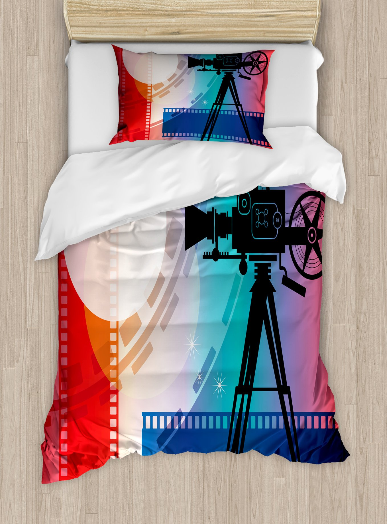Ambesonne Cinema Twin Size Duvet Cover Set, Colorful Projector Silhouette with Movie Reel Vintage Design Entertainment Theme, Decorative 2 Piece Bedding Set with 1 Pillow Sham, Multicolor by Ambesonne
