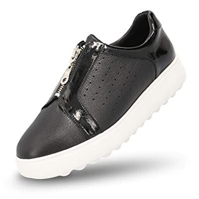 MANET Slip On Leather Sneakers for Women - Womens Fashion Zip Up Perforated Casual Comfort Walking Shoes - Crisantemo | Fashion Sneakers