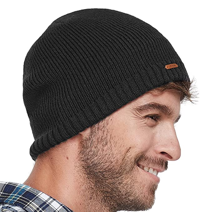 1eed1abfd07 LETHMIK Fleece Lined Beanie Hat Mens Winter Solid Color Warm Knit Ski Skull  Cap Black