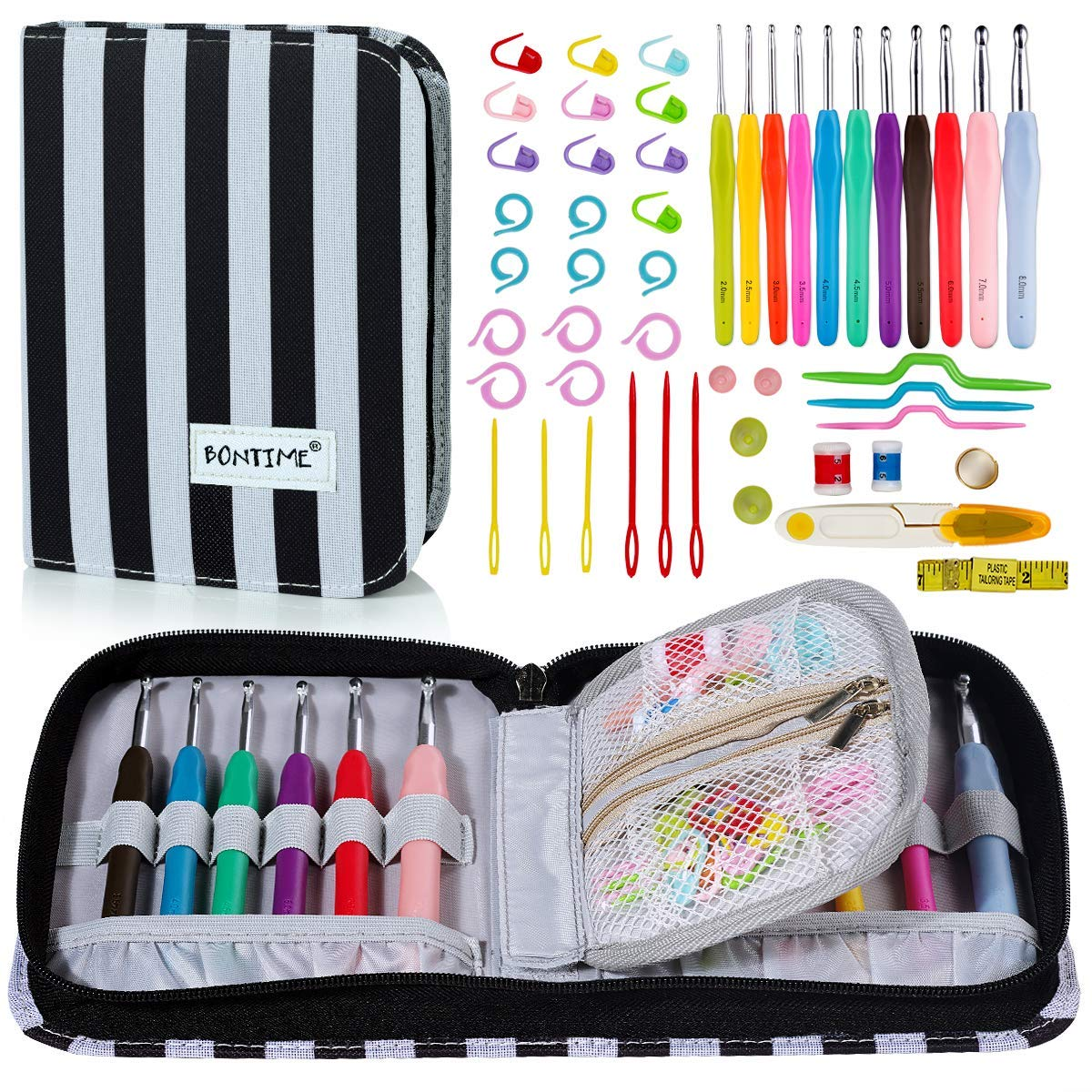 BONTIME Crochet Hooks Set - 11 Pieces Ergonomic Crochet Hooks with Portable Case, Contains All The Crochet Accessories Fit Any Projects, Ideal for Crocheters with Arthritic,Clover Print CTHE2018